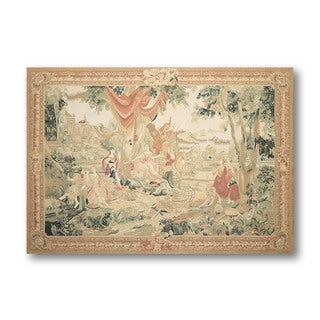 Beige Wool Classic French Country Tapestry Aubusson Needlepoint Rug (5'7 x 7'7)