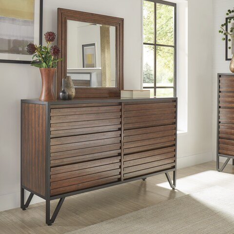 Chico Stacked Cherry Wood and Metal 6-Drawer Dresser and Mirror by iNSPIRE Q Modern