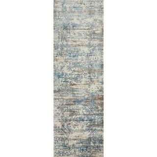Augustus Ivory/ Blue Rug (2'7 x 12')