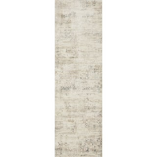 "Distressed Antique Ivory/ Grey Vintage Inspired Runner Rug - 2'7"" x 12'"