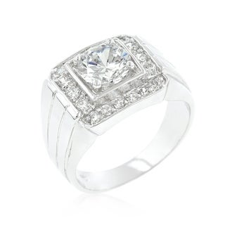 Pave Mens Cubic Zirconia Ring - Clear