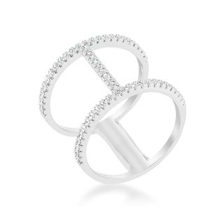 Christina 0 3ct CZ Rhodium Open Contemporary Wide Ring Clear