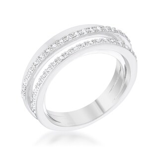 Laurie 0.2ct CZ Rhodium Contemporary Trio Band Ring - Clear