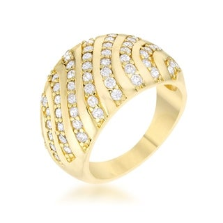 Shayla 0.95Ct Cz Gold Contemporary Dome Ring - Clear