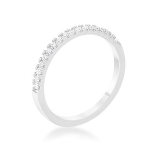 0.11ct CZ Rhodium Plated Classic Band Ring With Round Cut Cubic Zirconia In A Pave Setting In Silvertone - Clear
