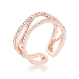 Marina 0.5ct CZ Rose Gold Abstract Cuff Ring - Clear