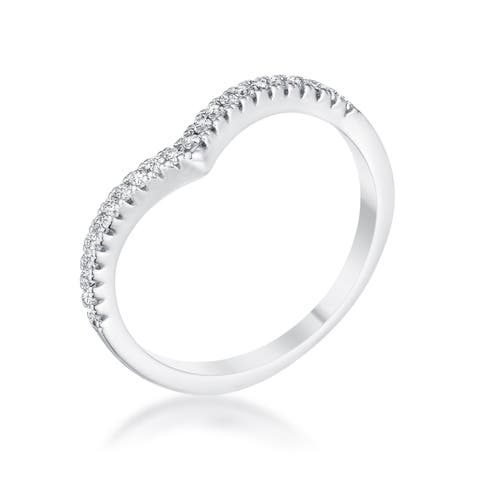 .22Ct Rhodium Chevron Ring with CZ - Clear