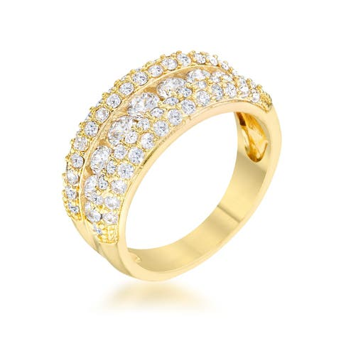 Luna 1.1ct CZ 14k Gold Classic Band Ring - Clear
