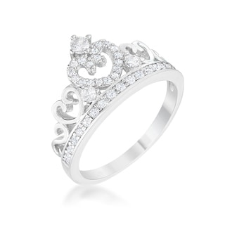 Classic Cubic Zirconia Rhodium Plated Heart Crown Ring - Clear