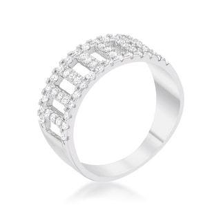Rey 0.5ct CZ Rhodium Contemporary Band Ring - Clear