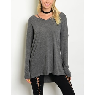 JED Women's Gray Relaxed Fit Long Sleeve Knit Top