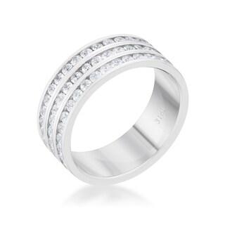 Dreya 1.6ct CZ Rhodium Stainless Steel Eternity Ring - Clear