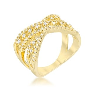 Sandy 0.37ct CZ 14k Gold Classic Criss Cross Ring - Clear