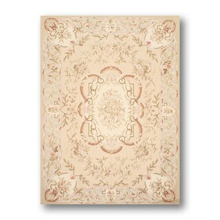 Aubusson Multicolor Wool Needlepoint Rug (4' x 6')