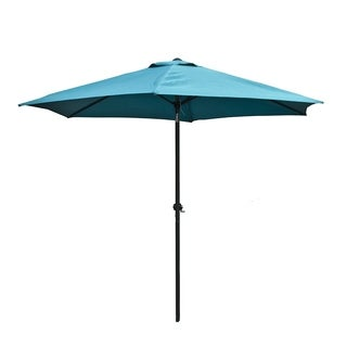 ALEKO 9 Feet Outdoor Garden Patio Steel Umbrella Turquoise Blue Color