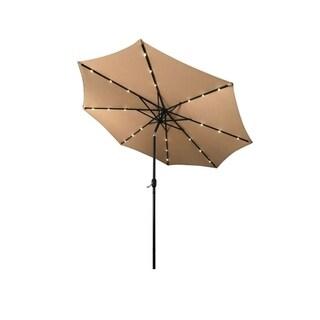 ALEKO Solar LED Lighted Tilting Outdoor Patio Table Umbrella 10 Feet