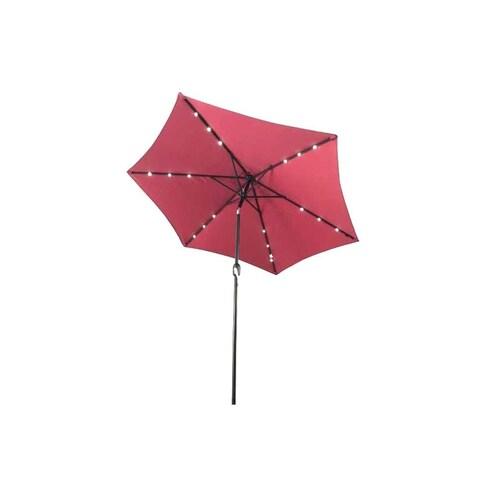 ALEKO Solar LED Lighted Tilting Outdoor Patio Table Umbrella 9 Feet
