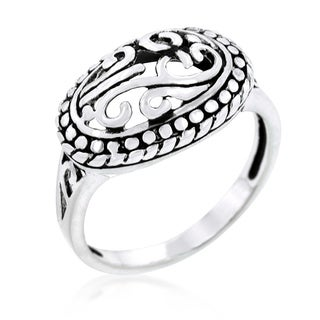 Antique Filigree Crest Ring - Clear