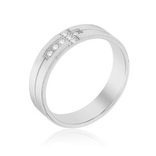 Band Ring With Cubic Zirconia Cross Design Clear