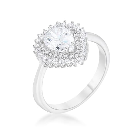 Susan 1.65ct CZ Rhodium Vintage Inspired Pear Shaped Ring - Clear