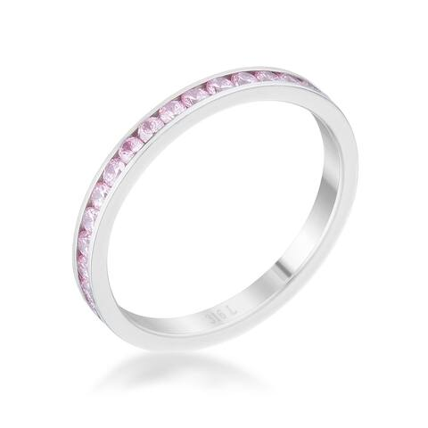 Teresa 0.5ct Pink CZ Stainless Steel Eternity Band