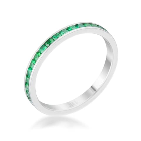 Teresa 0.5ct Emerald CZ Stainless Steel Eternity Band