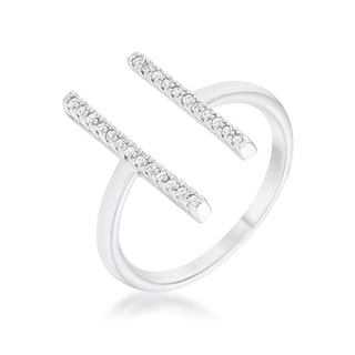 Sharna 12ct CZ Rhodium Parallel Contemporary Ring - Clear