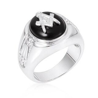 Silvertone Onyx Mens Ring - Black