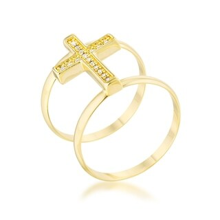 Francis 0.08Ct Cz Gold Contemporary Cross Ring - Clear