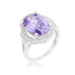 Melanie 5.95ct Amethyst CZ Rhodium Cocktail Ring - Purple