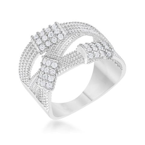 Peyton 0.36ct CZ Rhodium Wide Cable Statement Ring - Clear