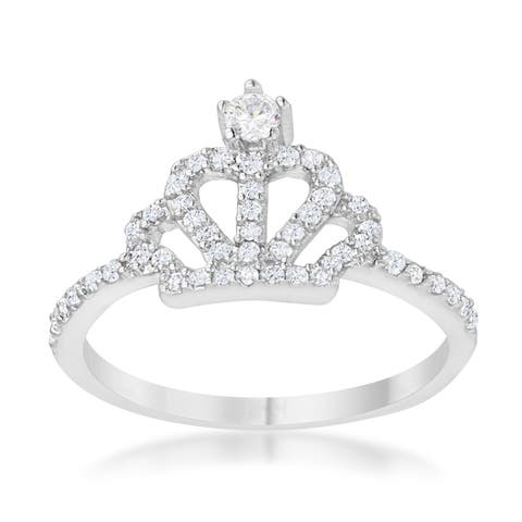 Elina 0.36ct CZ Rhodium Simple Crown Ring - Clear