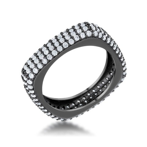 Jana 1.29ct CZ Hematite Contemporary Square Band Ring - Clear