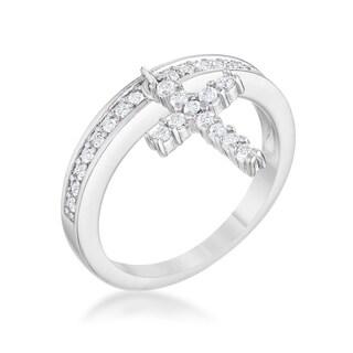 Christine 0.2ct CZ Rhodium Cross Charm Ring - Clear