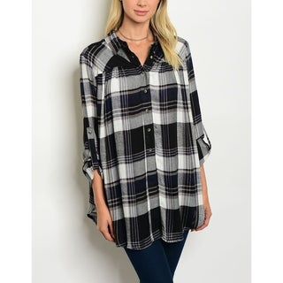 JED Women's Relaxed Fit Long Sleeve Plaid Button Down Shirt