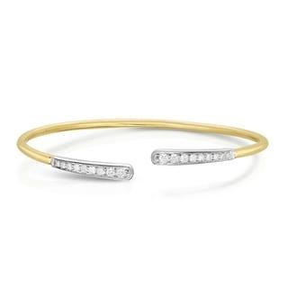 Noray Designs 14K Yellow Gold Diamond (0.40 Ct, G-H Color, SI2-I1 Clarity) Graduated Cuff Bangle - White