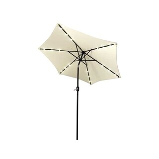 ALEKO Solar LED Lighted Tilting Outdoor Patio Table Umbrella 9 Ft