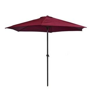 ALEKO 9 Feet Outdoor Garden Patio Steel Umbrella Burgundy Color