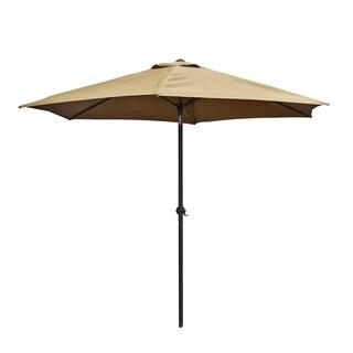 ALEKO 9 Feet Outdoor Garden Patio Steel Umbrella Sand Color