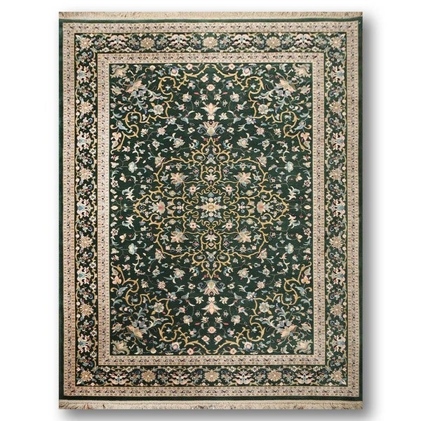 Karastan Tabriz Green Wool Handwoven Persian Oriental Area Rug - 8'8 x 12'