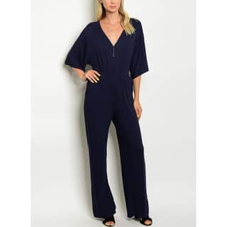 JED Women's Stretchy Fabric Navy V-neck Jumpsuit|https://ak1.ostkcdn.com/images/products/17166814/P23429426.jpg?impolicy=medium