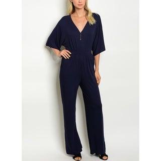 JED Women's Stretchy Fabric Navy V-neck Jumpsuit