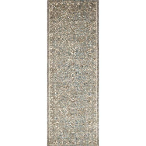 Traditional Blue/ Stone Grey Floral Distressed Runner Rug - 2'8 x 10'6