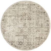 Traditional Beige/ Taupe Floral Distressed Round Rug - 7'7 x 7'7