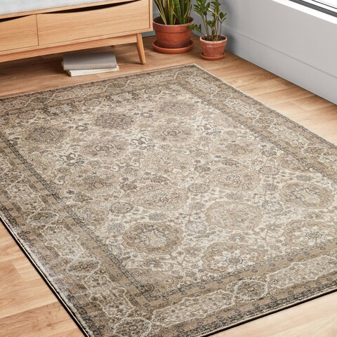 Traditional Beige/ Taupe Floral Border Runner Rug - 2'8 x 7'6