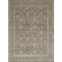 Traditional Taupe/ Rust Floral Border Rug - 12' x 15'