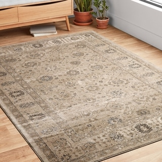 """Traditional Taupe Floral Border Round Rug - 7'7"""" x 7'7"""" Round"""