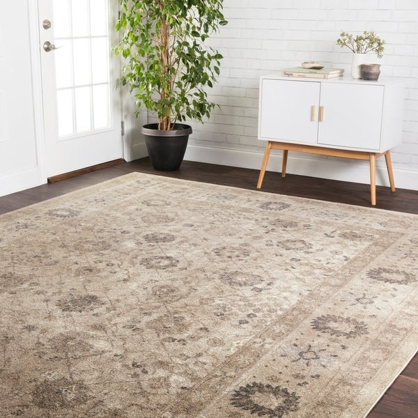 """Traditional Taupe Floral Border Runner Rug - 2'8"""" x 7'6"""" Runner"""