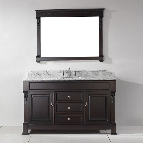 Virtu USA Huntshire 60-inch White Marble Single Bathroom Vanity Set with Faucet Options