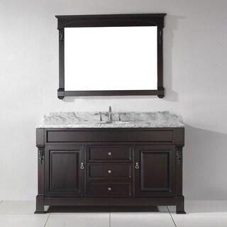 Virtu USA Huntshire 60-inch White Marble Single Bathroom Vanity Set